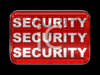 Royalty Free Clipart Image of a Security Red Button