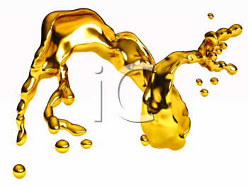 Royalty Free Clipart Image of a Splash of Gold Liquid