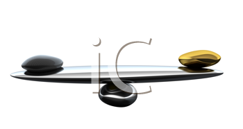 Royalty Free Clipart Image of a Scale With Stones
