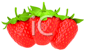 Royalty Free Clipart Image of Three Strawberries