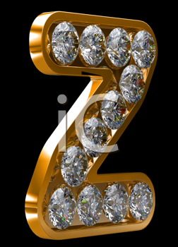 Royalty Free Clipart Image of a Golden Letter Z Incrusted With Diamonds