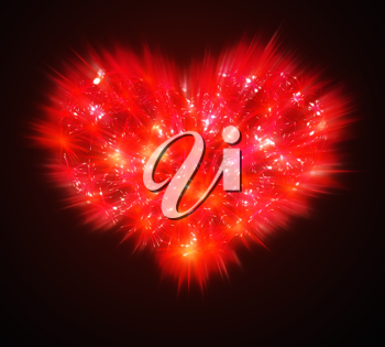 Abstract Valentines Day red Fireworks heart shape over black