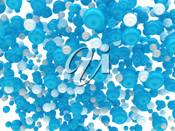 Blue and white glossy orbs isolated over white background