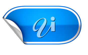Blue rounded hamous sticker or label over white background