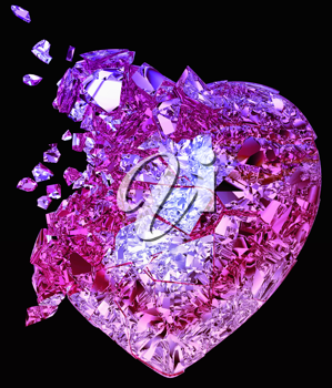 Broken crystal Heart: unrequited love, death, disease or pain. Isolated on black