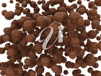 Brown chocolate orbs or balls isolated over whtie background