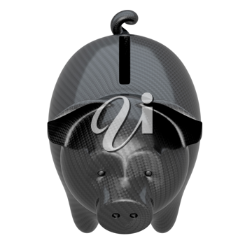 Carbon fiber piggy bank: stability and confidence. Isolated on white