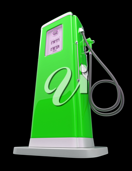 Green gas pump isolated over black background. Bottom side view