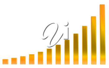 Growth: Orange diagram or chart over white background
