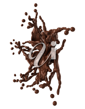 Splash: Liquid chocolate star shape with drops isolated over white