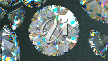 Close up of a diamonds flow over leather background. Large resolution
