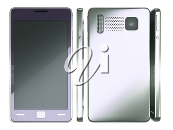 Front, side and rear views of Smart phone isolated on white