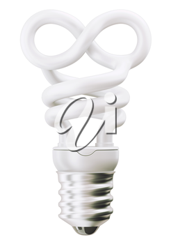 infinity or eternity symbol light bulb isolated over white