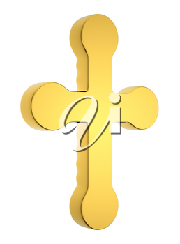 Jewelery and religion: golden cross isolated on white. Custom made and rendered