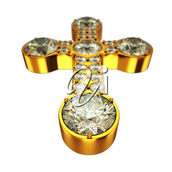 Religion: golden cross with diamonds isolated over white (wide angle with artistic shallow DOF)