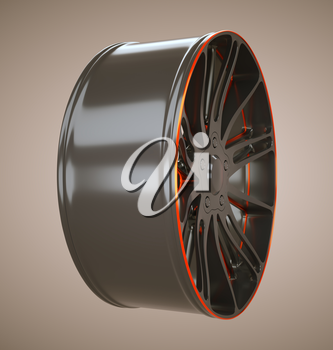 Sport racing: wheel or disc of sportcar. Custom made and rendered