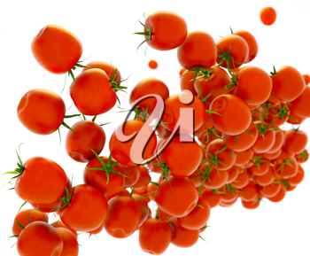 Tasty red tomatoes flow over white (shallow DOF)