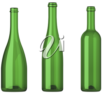 Three empty uncorked bottles for wine isolated on white