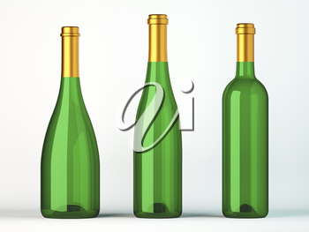 Three green bottles for wine with golden labels on white
