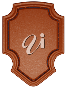 Brown stitched tag or label isolated over white. Large resolution