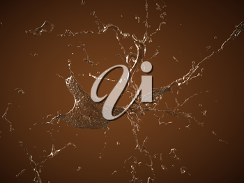 Drinks: Cocoa or Hot chocolate splashes over brown background