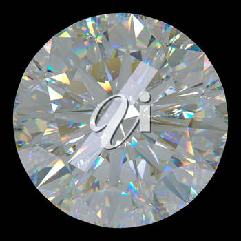 Gemstone: top view of round diamond isolated on black. Large resolution