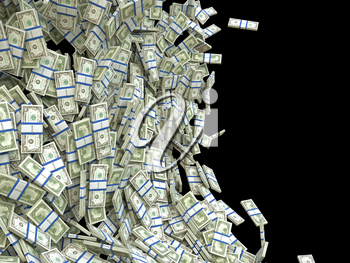 Business and finance concept: bunches of US dollars isolated on black