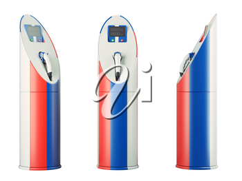 Eco fuel: isolated charging stations with Russian flag pattern for electric cars