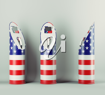 Eco fuel: three charging stations with USA flag pattern for electric cars