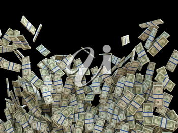 Succefull business: bunches of US dollar isolated on black