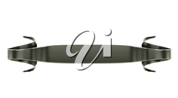 Glossy black emblem or label with curles isolated on black