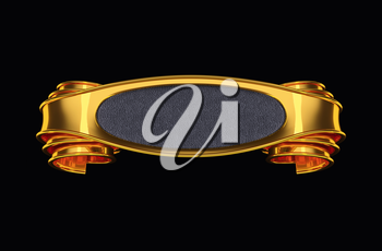 Golden label with curles and leather element. On dark background