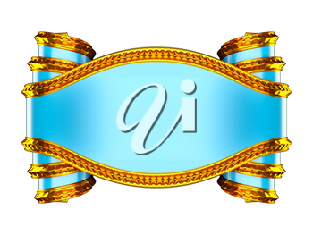 Massive blue emblem with golden edging and curles. Over white