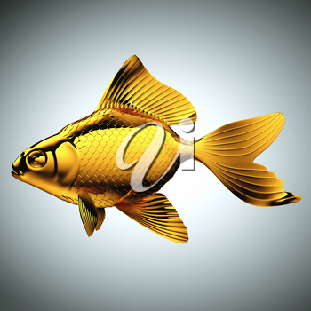 Goldfish made of gold over gray background