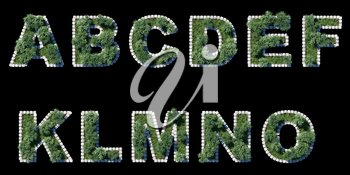 green park font with grey cubing border on black. 11 letters