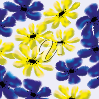 Forget-me-not and cinquefoil floral pattern. Useful as natural background