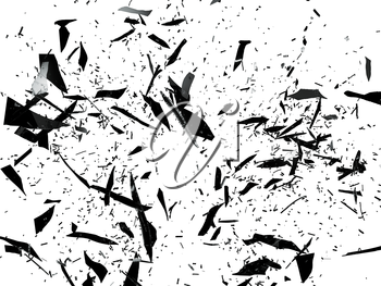 Pieces of black Shattered glass on white. Large resolution