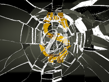 Shattered glass and broken US dollar symbol. financial crisis and decline