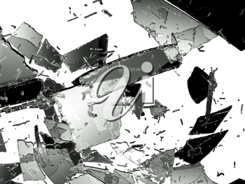 Damaged and Shattered glass on white. Large resolution