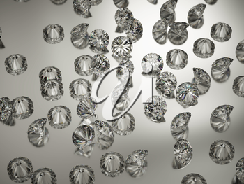 Large Diamonds or gemstones on reflected surface. Luxury and wealth
