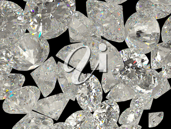 Diamonds or jewelry gemstones isolated on black background