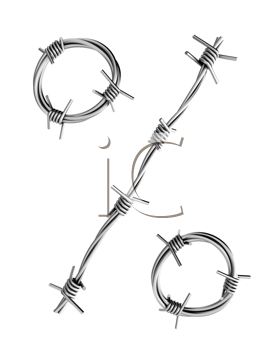 Royalty Free Clipart Image of a Barbed Wire Percent Symbol