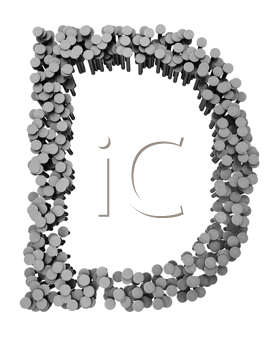 Royalty Free Clipart Image of a D Made From Hammered Nails