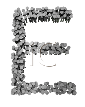 Royalty Free Clipart Image of an E Made From Hammered Nails
