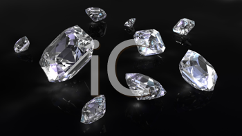Royalty Free Clipart Image of Diamonds on a Black Background