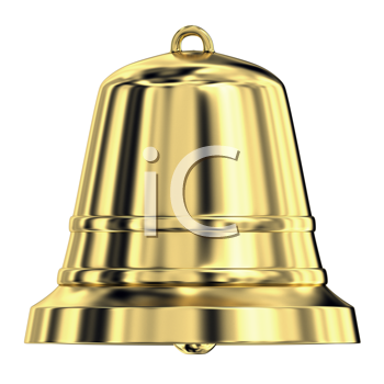 Royalty Free Clipart Image of a Shiny Golden Bell
