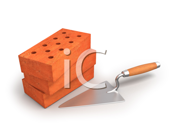 Royalty Free Clipart Image of Bricks and a Trowel