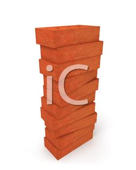 Royalty Free Clipart Image of a Tower of Bricks