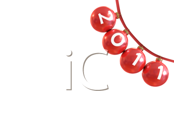 Royalty Free Clipart Image of Christmas Ornaments on a Line