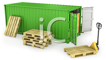 Royalty Free Clipart Image of a Green Freight Box